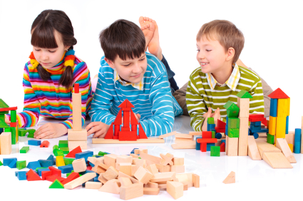 Kids playing with blocks at the pediatric dentist office in Forney, Heath and Kaufman, TX